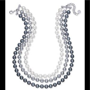 FAUX PEARL OMBRÉ THREE ROW COLLAR NECKLACE